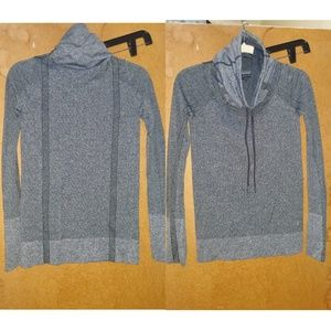 Active gray sweater with funnel neck